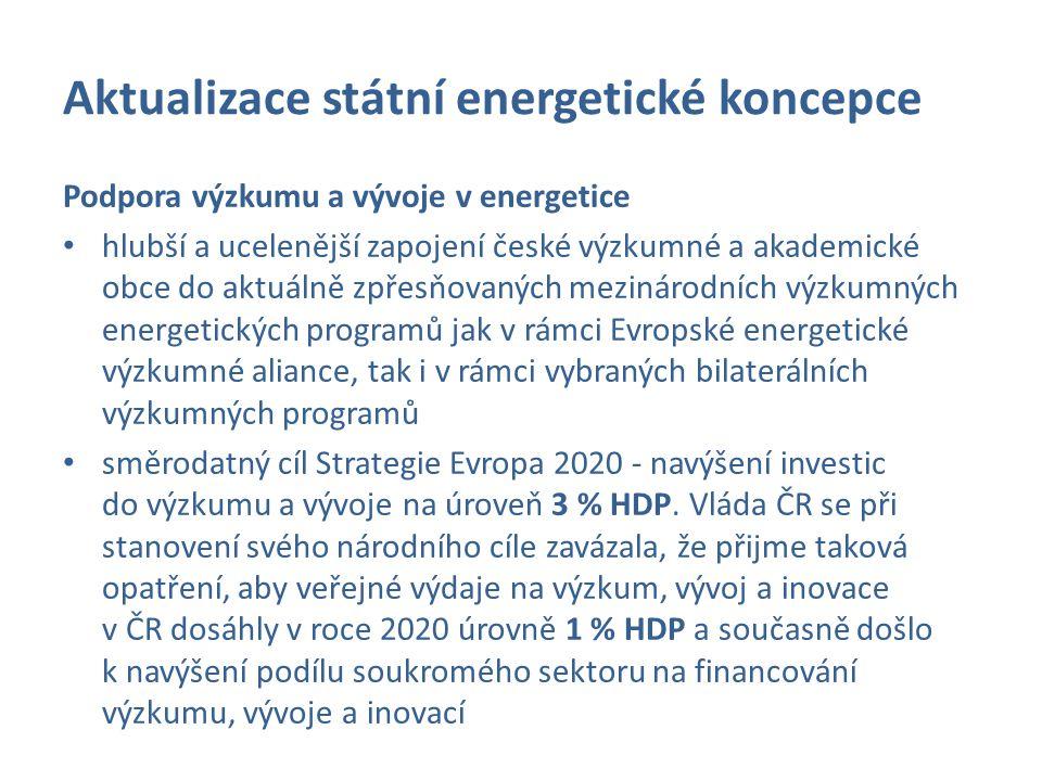 Aktualizace státní energetické koncepce Podpora výzkumu a vývoje v energetice hlubší a ucelenější zapojení české výzkumné a akademické obce do aktuáln
