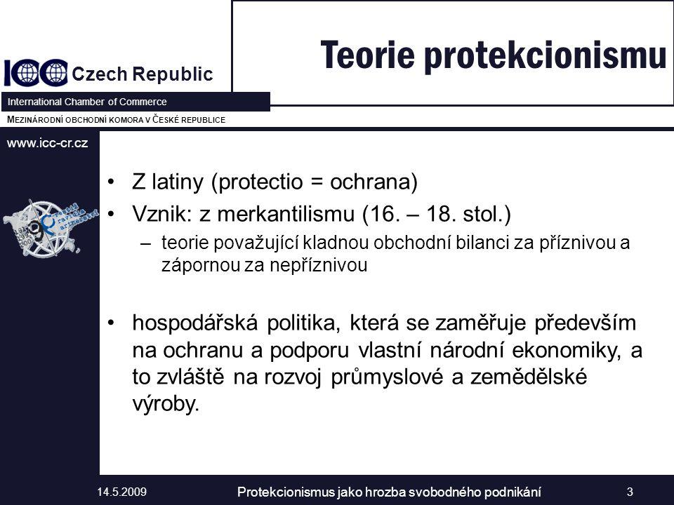 www.icc-cr.cz Czech Republic International Chamber of Commerce M EZINÁRODNÍ OBCHODNÍ KOMORA V Č ESKÉ REPUBLICE Z latiny (protectio = ochrana) Vznik: z merkantilismu (16.