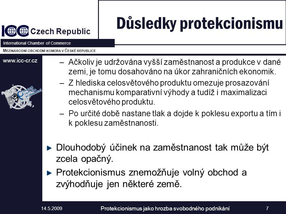 www.icc-cr.cz Czech Republic International Chamber of Commerce M EZINÁRODNÍ OBCHODNÍ KOMORA V Č ESKÉ REPUBLICE –Ačkoliv je udržována vyšší zaměstnanost a produkce v dané zemi, je tomu dosahováno na úkor zahraničních ekonomik.