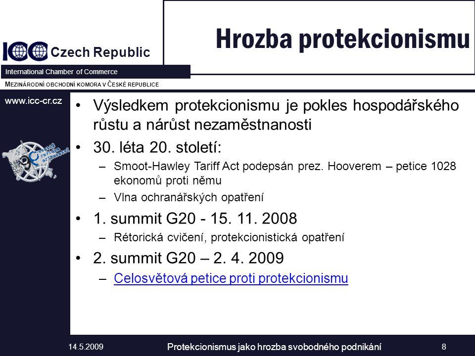 www.icc-cr.cz Czech Republic International Chamber of Commerce M EZINÁRODNÍ OBCHODNÍ KOMORA V Č ESKÉ REPUBLICE Výsledkem protekcionismu je pokles hospodářského růstu a nárůst nezaměstnanosti 30.