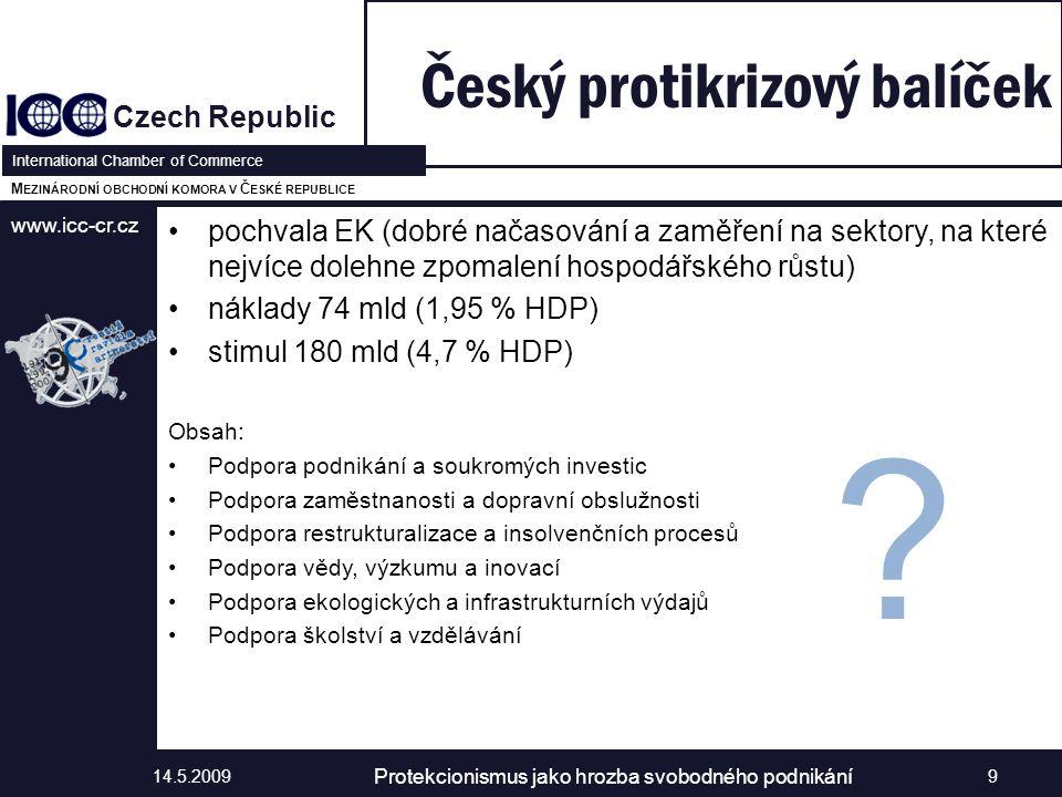 www.icc-cr.cz Czech Republic International Chamber of Commerce M EZINÁRODNÍ OBCHODNÍ KOMORA V Č ESKÉ REPUBLICE pochvala EK (dobré načasování a zaměření na sektory, na které nejvíce dolehne zpomalení hospodářského růstu) náklady 74 mld (1,95 % HDP) stimul 180 mld (4,7 % HDP) Obsah: Podpora podnikání a soukromých investic Podpora zaměstnanosti a dopravní obslužnosti Podpora restrukturalizace a insolvenčních procesů Podpora vědy, výzkumu a inovací Podpora ekologických a infrastrukturních výdajů Podpora školství a vzdělávání Český protikrizový balíček 14.5.2009 Protekcionismus jako hrozba svobodného podnikání 9
