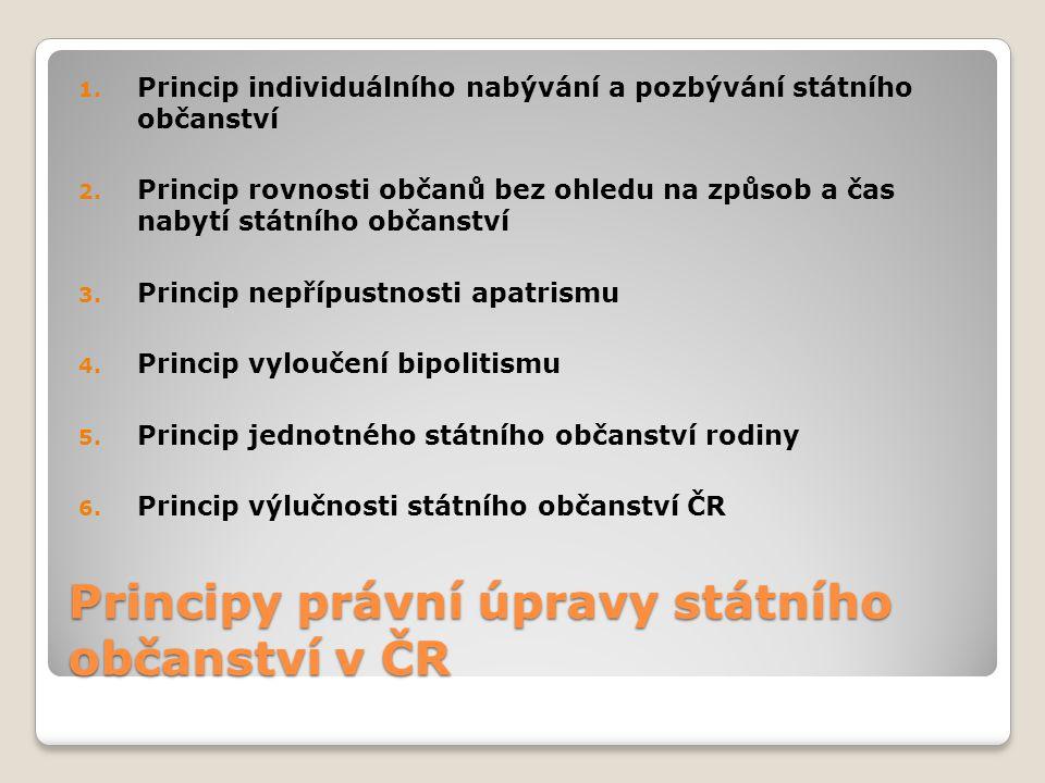 Principy právní úpravy státního občanství v ČR 1. Princip individuálního nabývání a pozbývání státního občanství 2. Princip rovnosti občanů bez ohledu