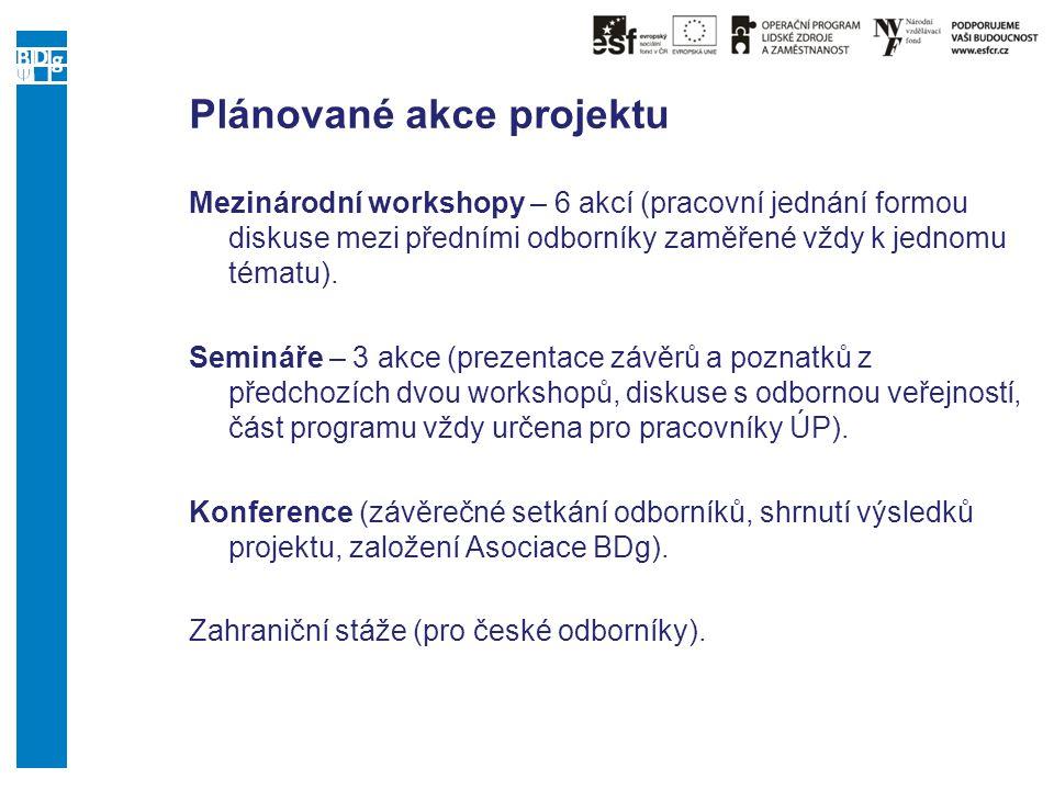 Plánované akce projektu Mezinárodní workshopy – 6 akcí (pracovní jednání formou diskuse mezi předními odborníky zaměřené vždy k jednomu tématu). Semin