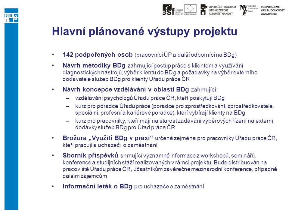 Hlavní plánované výstupy projektu 142 podpořených osob (pracovníci ÚP a další odborníci na BDg) Návrh metodiky BDg zahrnující postup práce s klientem