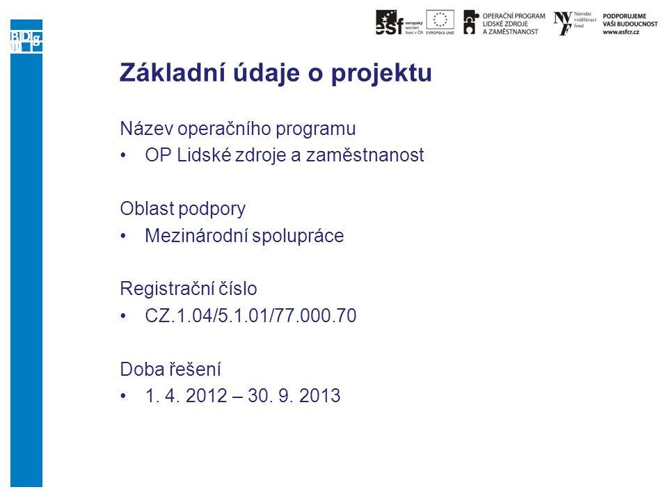 Základní údaje o projektu Název operačního programu OP Lidské zdroje a zaměstnanost Oblast podpory Mezinárodní spolupráce Registrační číslo CZ.1.04/5.