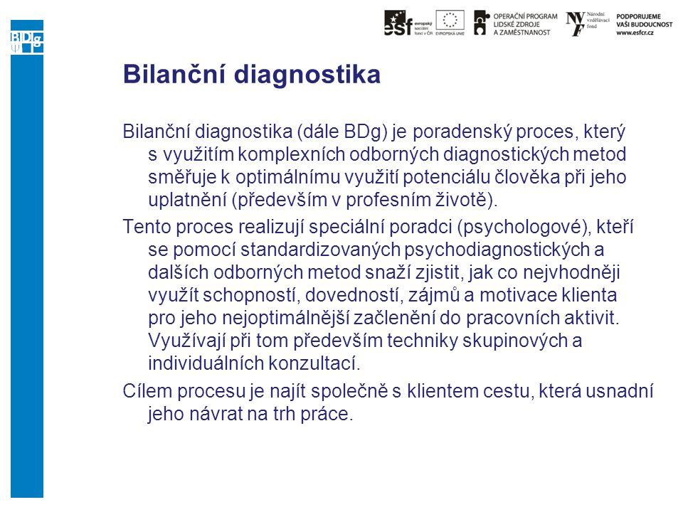 Bilanční diagnostika Bilanční diagnostika (dále BDg) je poradenský proces, který s využitím komplexních odborných diagnostických metod směřuje k optim