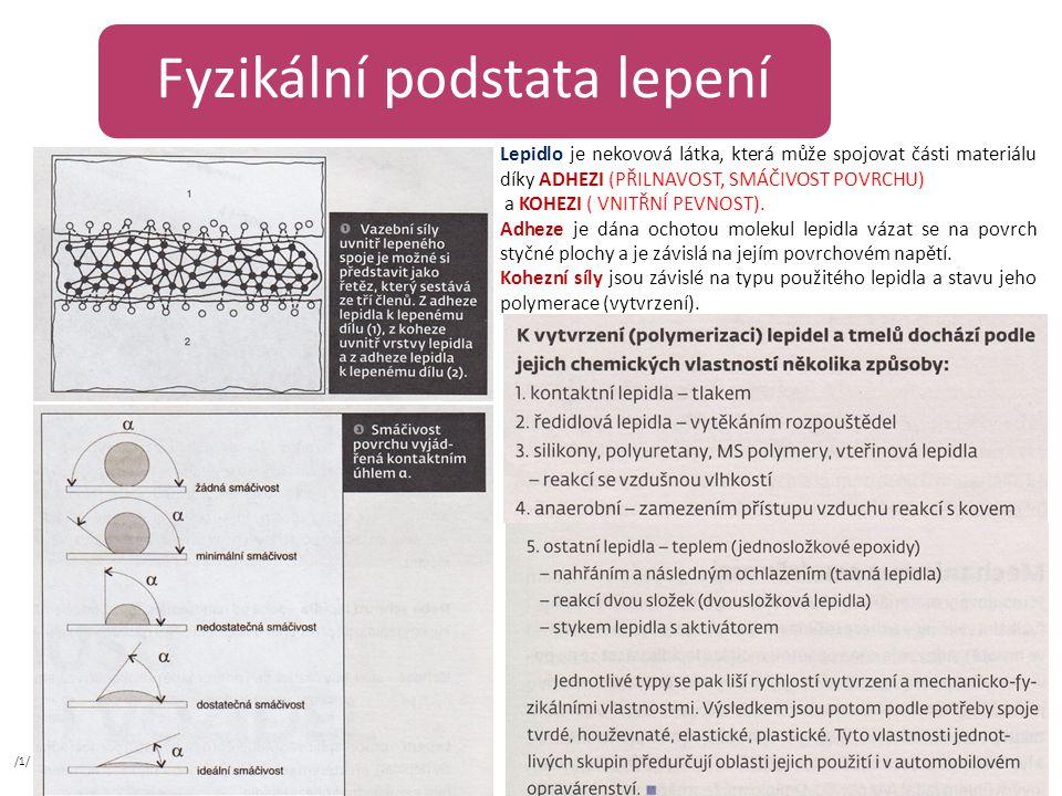 Fyzikální podstata lepení Lepidlo je nekovová látka, která může spojovat části materiálu díky ADHEZI (PŘILNAVOST, SMÁČIVOST POVRCHU) a KOHEZI ( VNITŘNÍ PEVNOST).