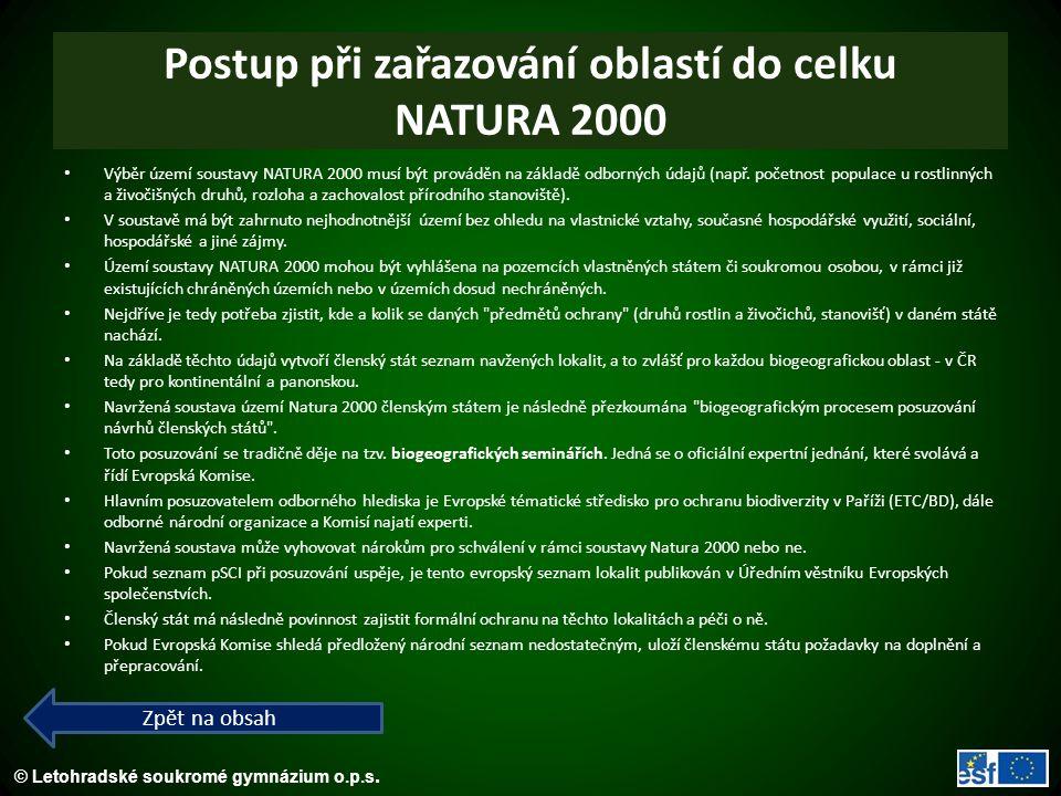 © Letohradské soukromé gymnázium o.p.s. Postup při zařazování oblastí do celku NATURA 2000 Výběr území soustavy NATURA 2000 musí být prováděn na zákla