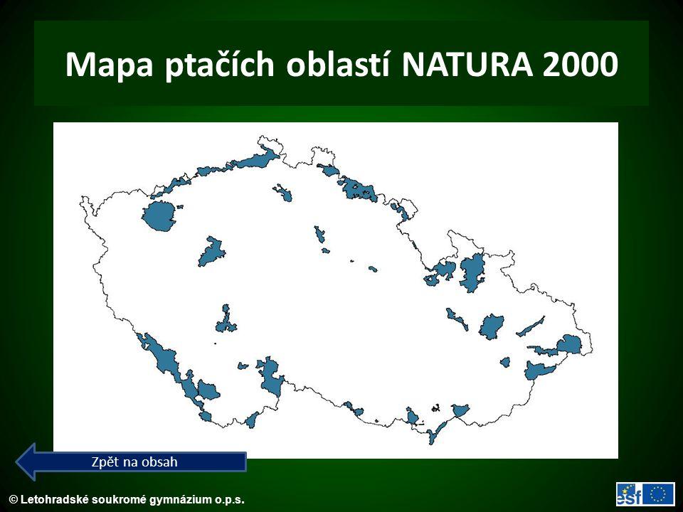© Letohradské soukromé gymnázium o.p.s. Mapa ptačích oblastí NATURA 2000 Zpět na obsah
