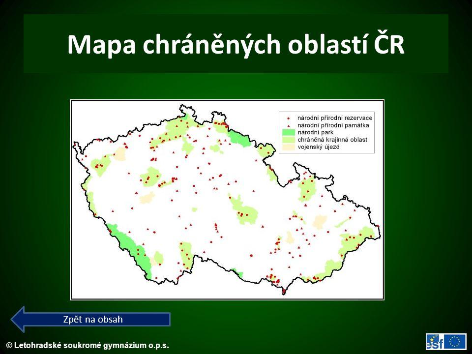 © Letohradské soukromé gymnázium o.p.s. Mapa chráněných oblastí ČR Zpět na obsah