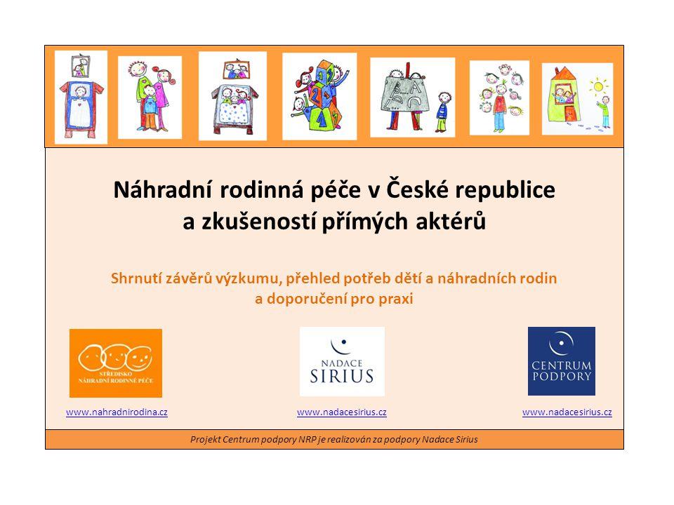 Náhradní rodinná péče v České republice a zkušeností přímých aktérů Shrnutí závěrů výzkumu, přehled potřeb dětí a náhradních rodin a doporučení pro pr