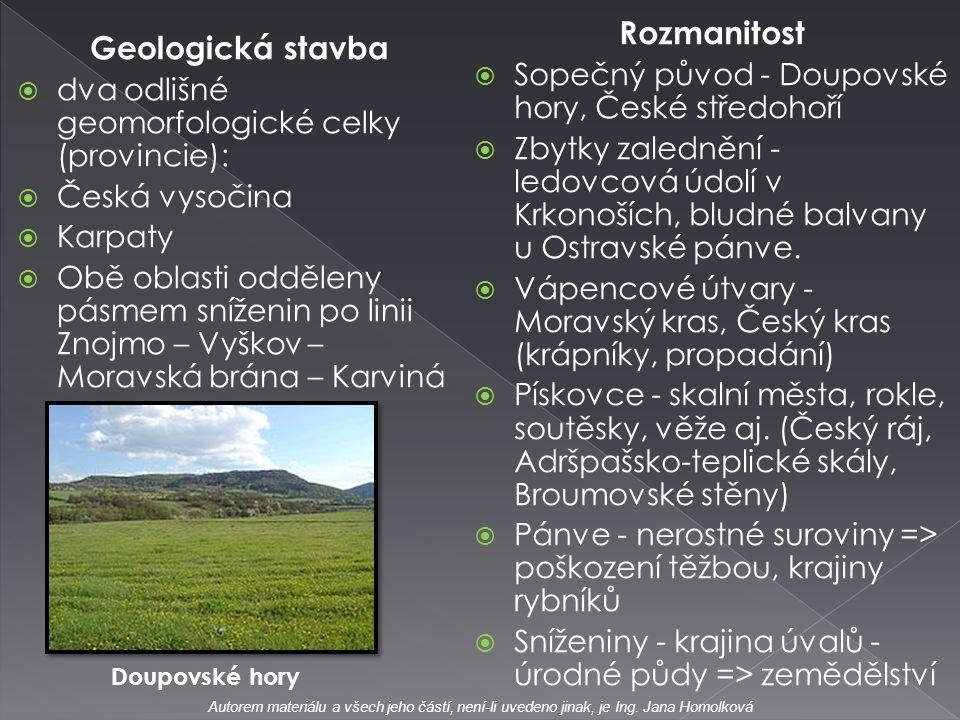 Geologická stavba  dva odlišné geomorfologické celky (provincie):  Česká vysočina  Karpaty  Obě oblasti odděleny pásmem sníženin po linii Znojmo –