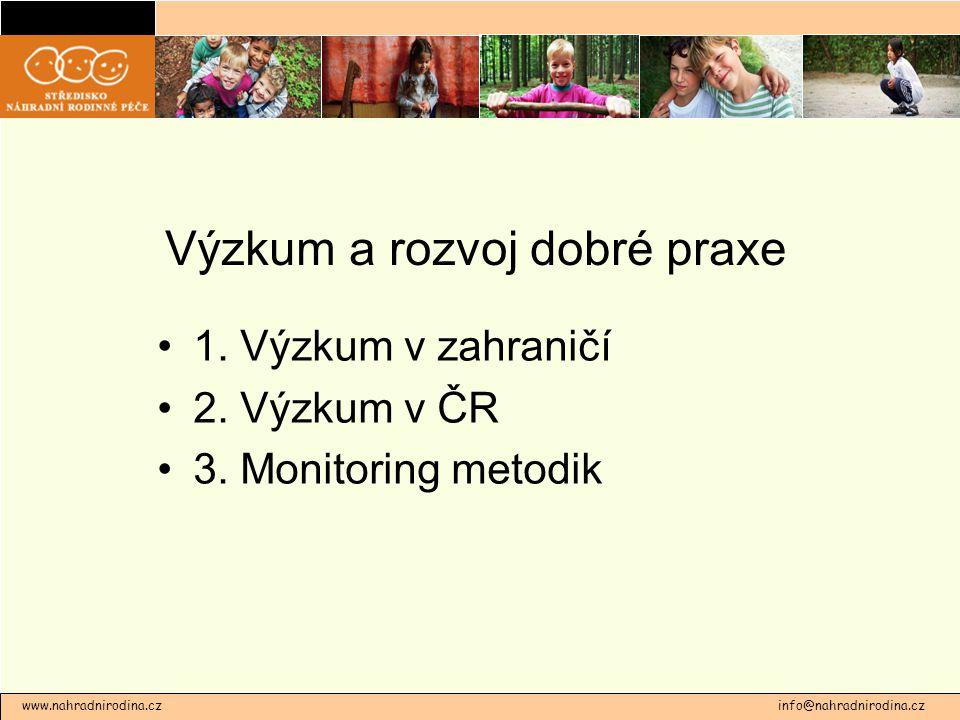 Výzkum a rozvoj dobré praxe 1. Výzkum v zahraničí 2. Výzkum v ČR 3. Monitoring metodik www.nahradnirodina.cz info@nahradnirodina.cz