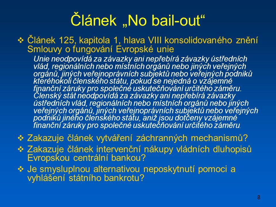 """8 Článek """"No bail-out  Článek 125, kapitola 1, hlava VIII konsolidovaného znění Smlouvy o fungování Evropské unie Unie neodpovídá za závazky ani nepřebírá závazky ústředních vlád, regionálních nebo místních orgánů nebo jiných veřejných orgánů, jiných veřejnoprávních subjektů nebo veřejných podniků kteréhokoli členského státu, pokud se nejedná o vzájemné finanční záruky pro společné uskutečňování určitého záměru."""