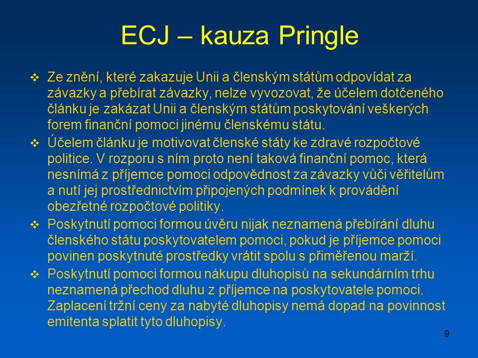 9 ECJ – kauza Pringle  Ze znění, které zakazuje Unii a členským státům odpovídat za závazky a přebírat závazky, nelze vyvozovat, že účelem dotčeného článku je zakázat Unii a členským státům poskytování veškerých forem finanční pomoci jinému členskému státu.