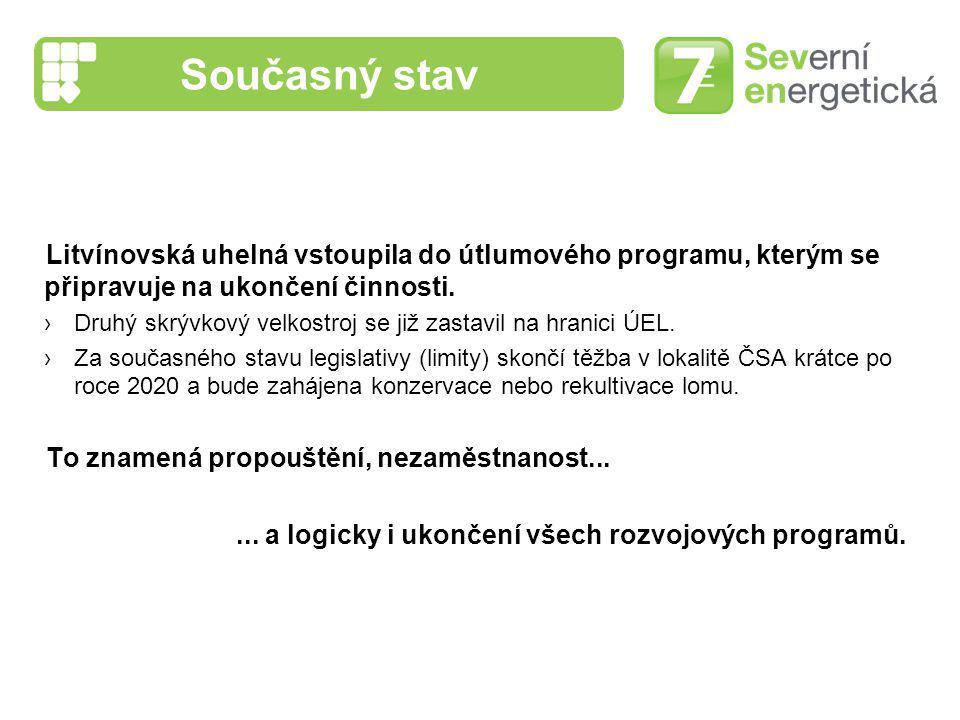 Současný stav Litvínovská uhelná vstoupila do útlumového programu, kterým se připravuje na ukončení činnosti. ›Druhý skrývkový velkostroj se již zasta