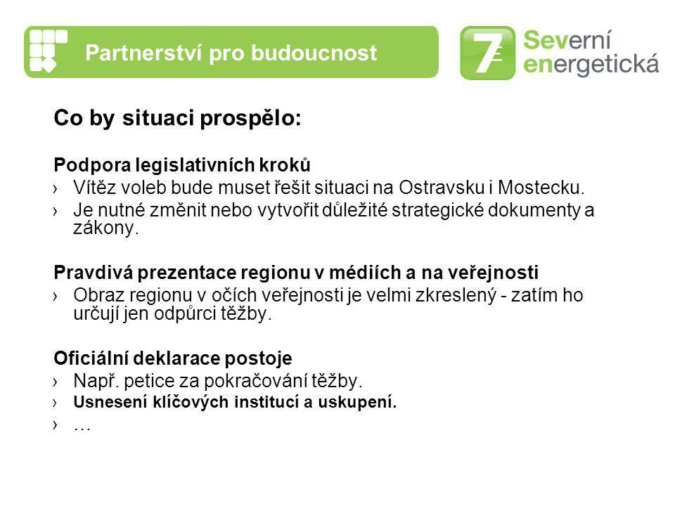 Partnerství pro budoucnost Co by situaci prospělo: Podpora legislativních kroků ›Vítěz voleb bude muset řešit situaci na Ostravsku i Mostecku. ›Je nut