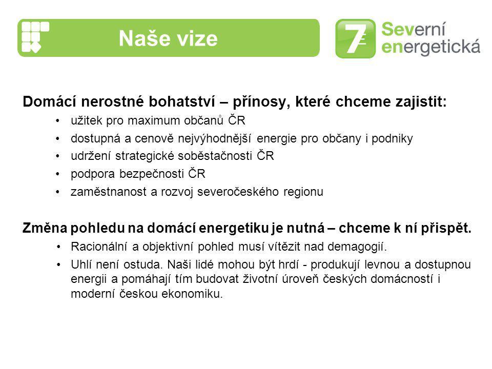 Naše vize Domácí nerostné bohatství – přínosy, které chceme zajistit: užitek pro maximum občanů ČR dostupná a cenově nejvýhodnější energie pro občany
