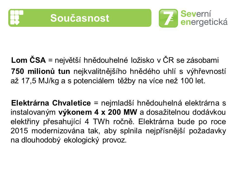 Současnost Lom ČSA = největší hnědouhelné ložisko v ČR se zásobami 750 milionů tun nejkvalitnějšího hnědého uhlí s výhřevností až 17,5 MJ/kg a s poten