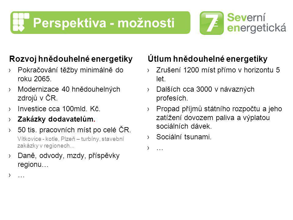Perspektiva - možnosti Rozvoj hnědouhelné energetiky ›Pokračování těžby minimálně do roku 2065. ›Modernizace 40 hnědouhelných zdrojů v ČR. ›Investice