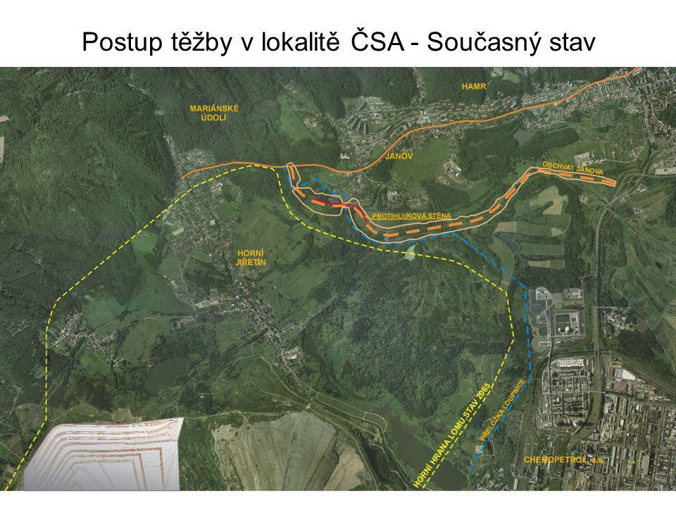 Postup těžby v lokalitě ČSA - Současný stav