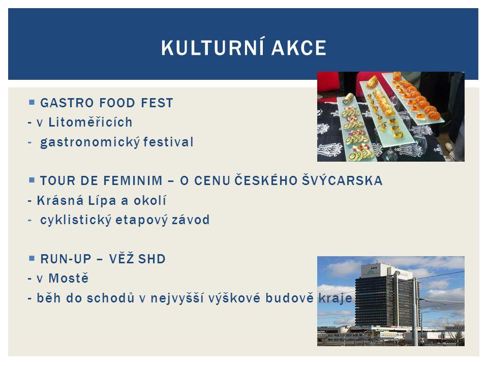  GASTRO FOOD FEST - v Litoměřicích -gastronomický festival  TOUR DE FEMINIM – O CENU ČESKÉHO ŠVÝCARSKA - Krásná Lípa a okolí -cyklistický etapový závod  RUN-UP – VĚŽ SHD - v Mostě - běh do schodů v nejvyšší výškové budově kraje KULTURNÍ AKCE