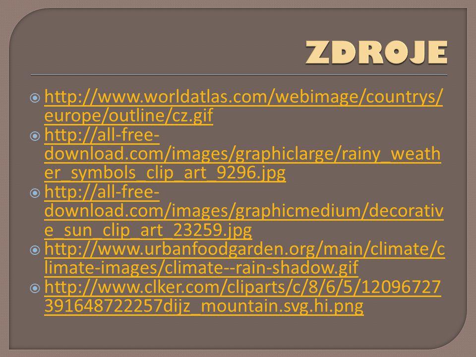  http://www.worldatlas.com/webimage/countrys/ europe/outline/cz.gif http://www.worldatlas.com/webimage/countrys/ europe/outline/cz.gif  http://all-free- download.com/images/graphiclarge/rainy_weath er_symbols_clip_art_9296.jpg http://all-free- download.com/images/graphiclarge/rainy_weath er_symbols_clip_art_9296.jpg  http://all-free- download.com/images/graphicmedium/decorativ e_sun_clip_art_23259.jpg http://all-free- download.com/images/graphicmedium/decorativ e_sun_clip_art_23259.jpg  http://www.urbanfoodgarden.org/main/climate/c limate-images/climate--rain-shadow.gif http://www.urbanfoodgarden.org/main/climate/c limate-images/climate--rain-shadow.gif  http://www.clker.com/cliparts/c/8/6/5/12096727 391648722257dijz_mountain.svg.hi.png http://www.clker.com/cliparts/c/8/6/5/12096727 391648722257dijz_mountain.svg.hi.png