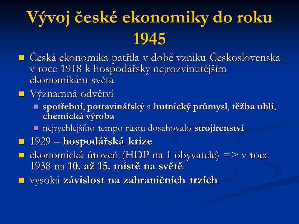 Vývoj české ekonomiky do roku 1945 Česká ekonomika patřila v době vzniku Československa v roce 1918 k hospodářsky nejrozvinutějším ekonomikám světa Če