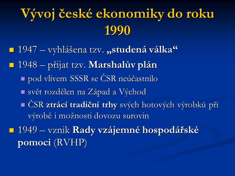 Vývoj české ekonomiky do roku 1990 Československo bylo průmyslově nejvyspělejší členská země RVHP Československo bylo průmyslově nejvyspělejší členská země RVHP rozsáhlé změny výrobní struktury rozsáhlé změny výrobní struktury na přelomu 40.