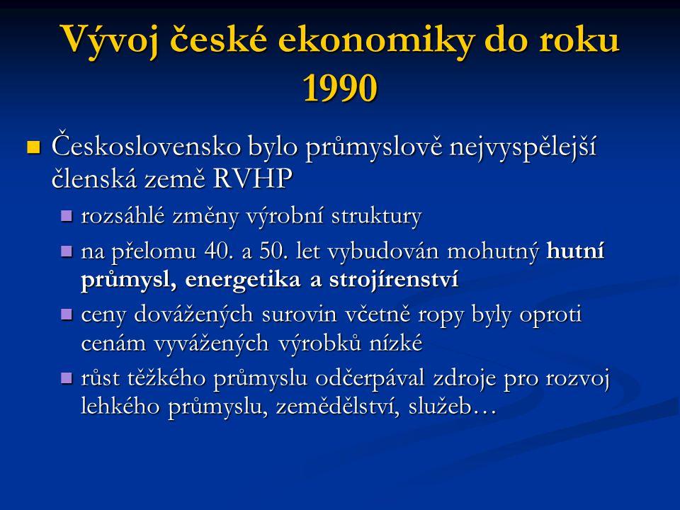 Vývoj české ekonomiky do roku 1990 dlouhodobě přetrvávající problémy dlouhodobě přetrvávající problémy centrální řízení ekonomiky s orientací na těžký průmysl centrální řízení ekonomiky s orientací na těžký průmysl široká výrobní struktura široká výrobní struktura méně efektivní kusová výroba méně efektivní kusová výroba nízké vědeckovýzkumné zajištění výroby nízké vědeckovýzkumné zajištění výroby malý tlak konkurence malý tlak konkurence palivová a energetická krize 70.