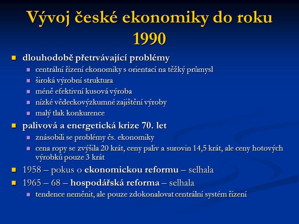 Vývoj české ekonomiky do roku 1990 dlouhodobě přetrvávající problémy dlouhodobě přetrvávající problémy centrální řízení ekonomiky s orientací na těžký