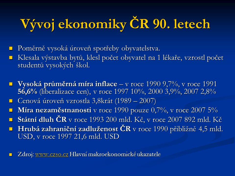 Postavení ČR ve světové ekonomice Před rokem 1989 dosahoval podíl centrálně řízených zemí (SSSR) 64% našeho zahraničního obchodu, na rozvinuté tržní ekonomiky připadalo 29% a na rozvojové země 7%.