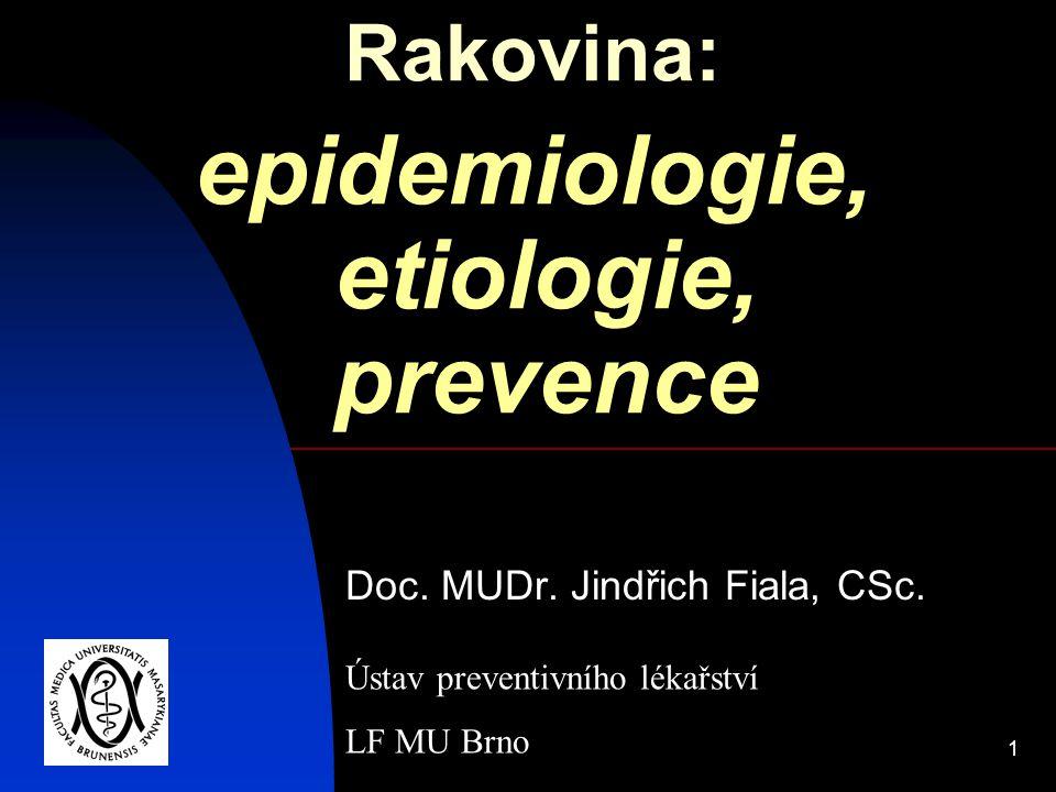 1 Rakovina: epidemiologie, etiologie, prevence Doc. MUDr. Jindřich Fiala, CSc. Ústav preventivního lékařství LF MU Brno