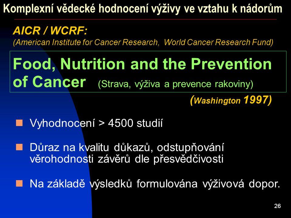 26 Komplexní vědecké hodnocení výživy ve vztahu k nádorům AICR / WCRF: (American Institute for Cancer Research, World Cancer Research Fund) Food, Nutr