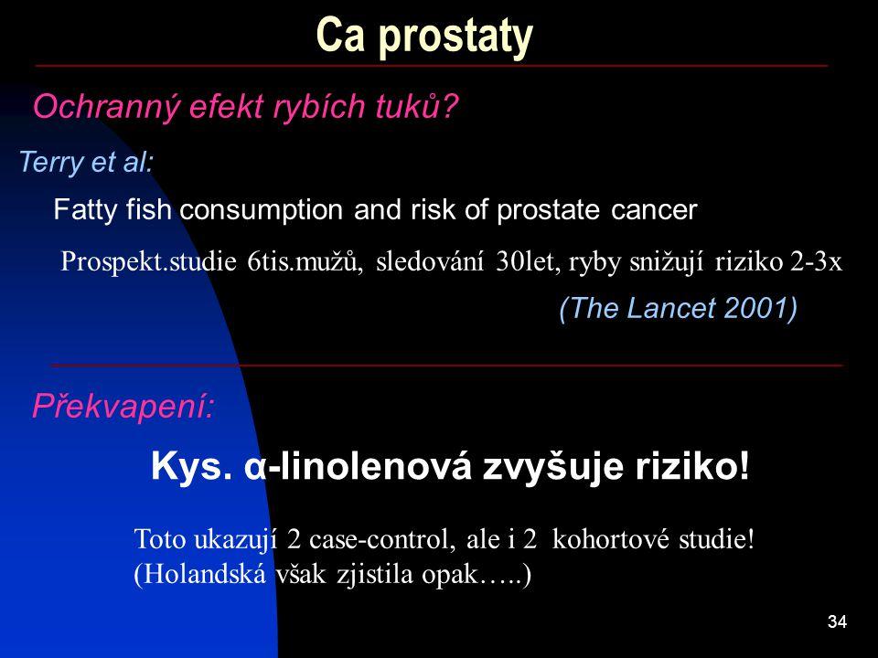 34 Ca prostaty Terry et al: Fatty fish consumption and risk of prostate cancer (The Lancet 2001) Ochranný efekt rybích tuků? Prospekt.studie 6tis.mužů