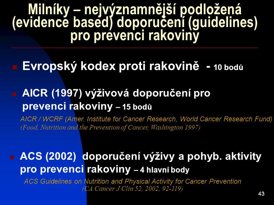 43 Milníky – nejvýznamnější podložená (evidence based) doporučení (guidelines) pro prevenci rakoviny Evropský kodex proti rakovině - 10 bodů ACS (2002