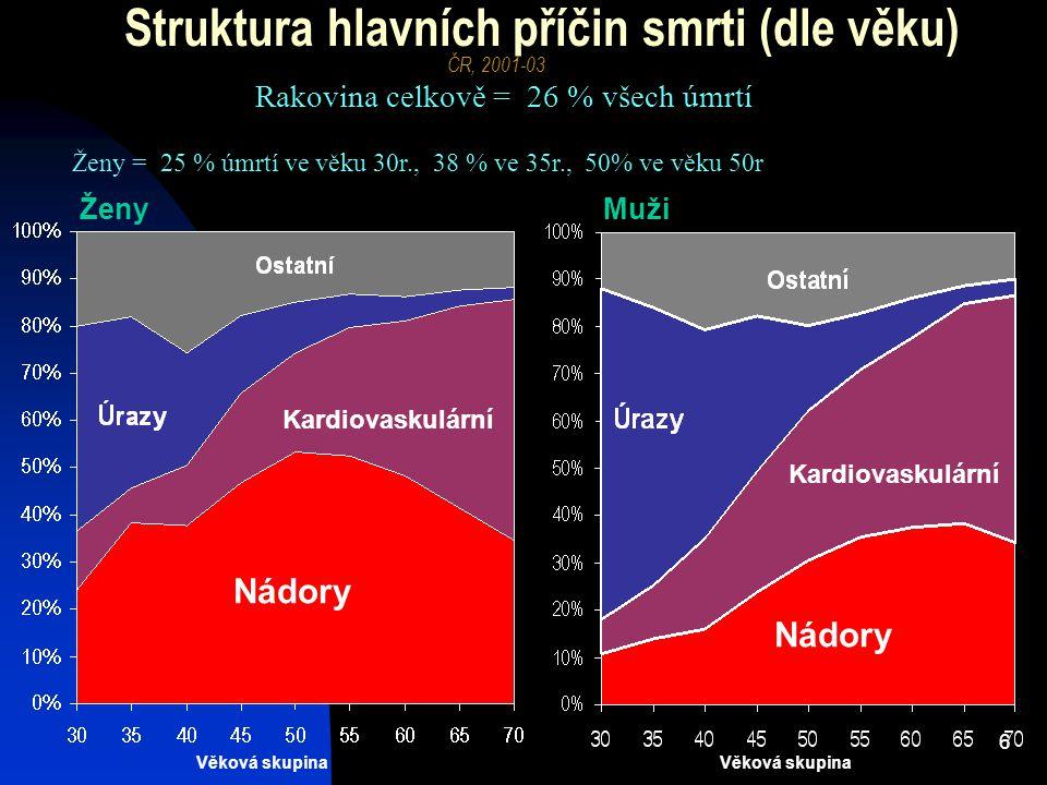 7 Úmrtnost (na 100tis) dle příčin- ve věkových skupinách Věková skupina ČR, za rok 2003 (zdroj dat: ÚZIS) Ženy Muži