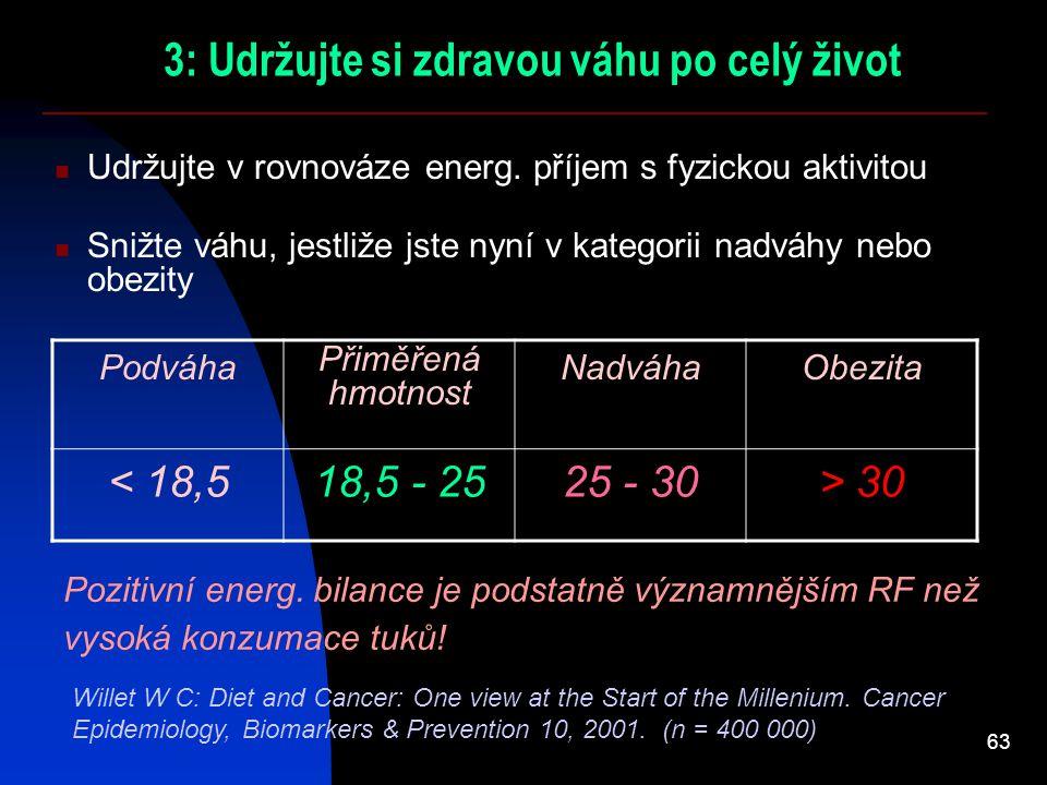 63 3: Udržujte si zdravou váhu po celý život Udržujte v rovnováze energ. příjem s fyzickou aktivitou Snižte váhu, jestliže jste nyní v kategorii nadvá