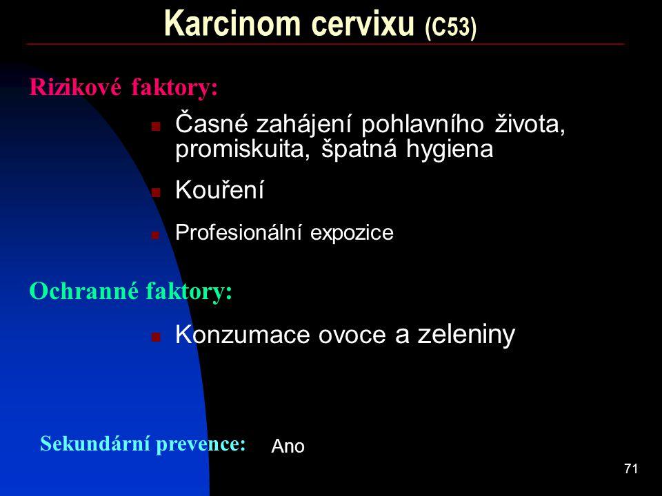 71 Karcinom cervixu (C53) Rizikové faktory: Kouření Ochranné faktory: Konzumace ovoce a zeleniny Profesionální expozice Sekundární prevence: Ano Časné