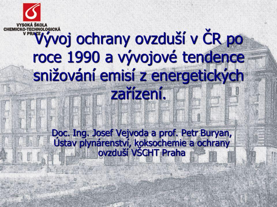 Vývoj ochrany ovzduší v ČR po roce 1990 a vývojové tendence snižování emisí z energetických zařízení. Doc. Ing. Josef Vejvoda a prof. Petr Buryan, Úst