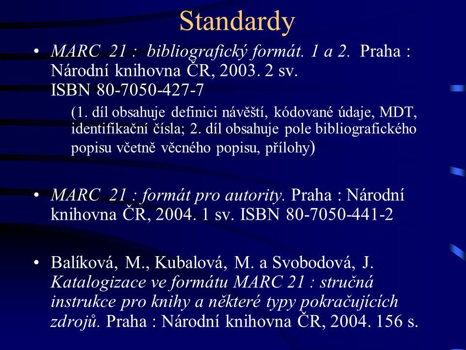 Standardy MARC 21 : bibliografický formát. 1 a 2. Praha : Národní knihovna ČR, 2003. 2 sv. ISBN 80-7050-427-7 (1. díl obsahuje definici návěští, kódov