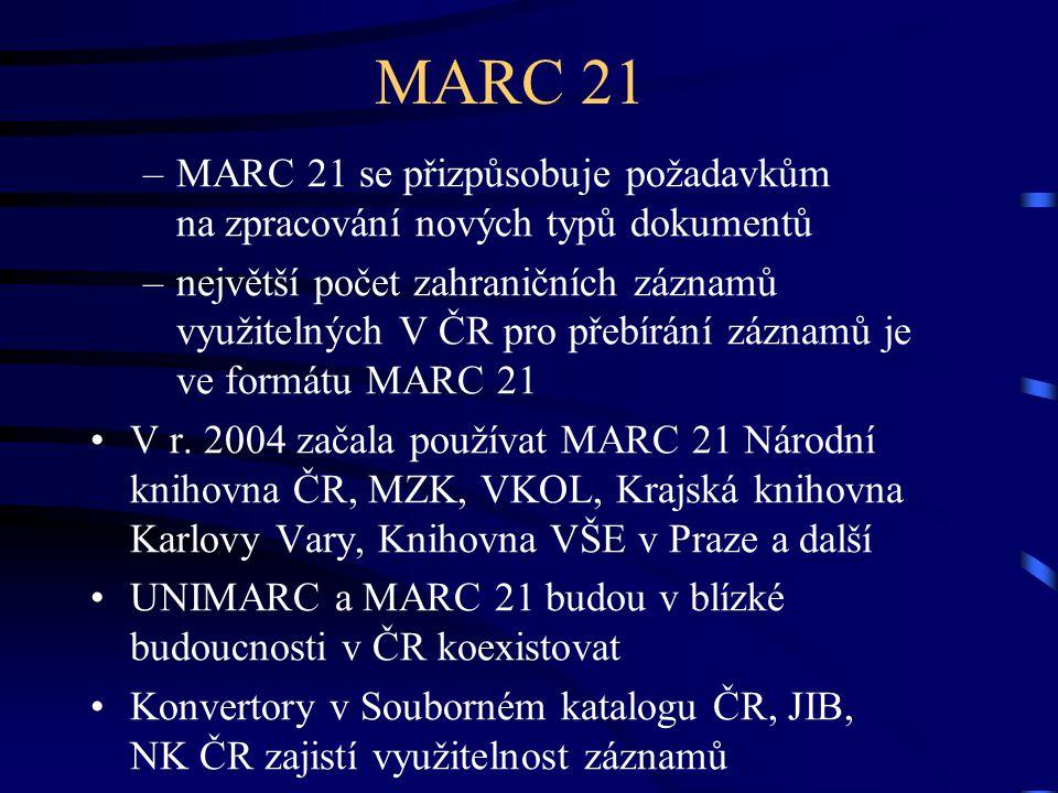 MARC 21 –MARC 21 se přizpůsobuje požadavkům na zpracování nových typů dokumentů –největší počet zahraničních záznamů využitelných V ČR pro přebírání z