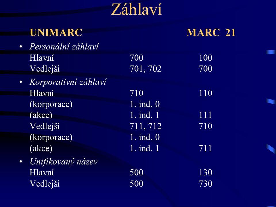 Záhlaví UNIMARC MARC 21 Personální záhlaví Hlavní700 100 Vedlejší701, 702 700 Korporativní záhlaví Hlavní710 110 (korporace)1. ind. 0 (akce)1. ind. 1