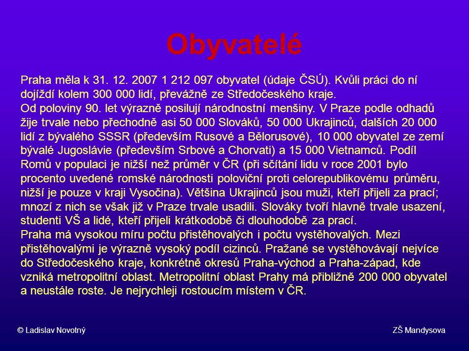 Obyvatelé © Ladislav Novotný ZŠ Mandysova. Praha měla k 31. 12. 2007 1 212 097 obyvatel (údaje ČSÚ). Kvůli práci do ní dojíždí kolem 300 000 lidí, pře
