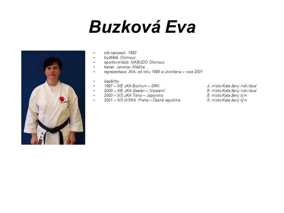 Buzková Eva rok narození: 1962 bydliště: Olomouc sportovní klub: MABUDO Olomouc trenér: Jaroslav Mléčka reprezentace JKA: od roku 1995 a ukončena v ro