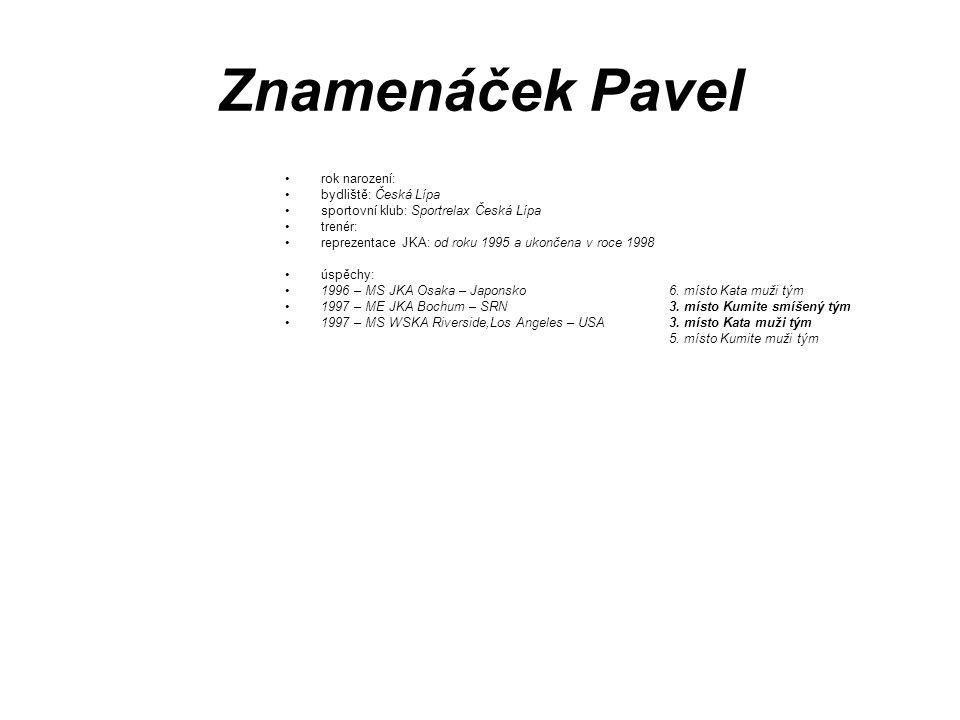 Znamenáček Pavel rok narození: bydliště: Česká Lípa sportovní klub: Sportrelax Česká Lípa trenér: reprezentace JKA: od roku 1995 a ukončena v roce 199