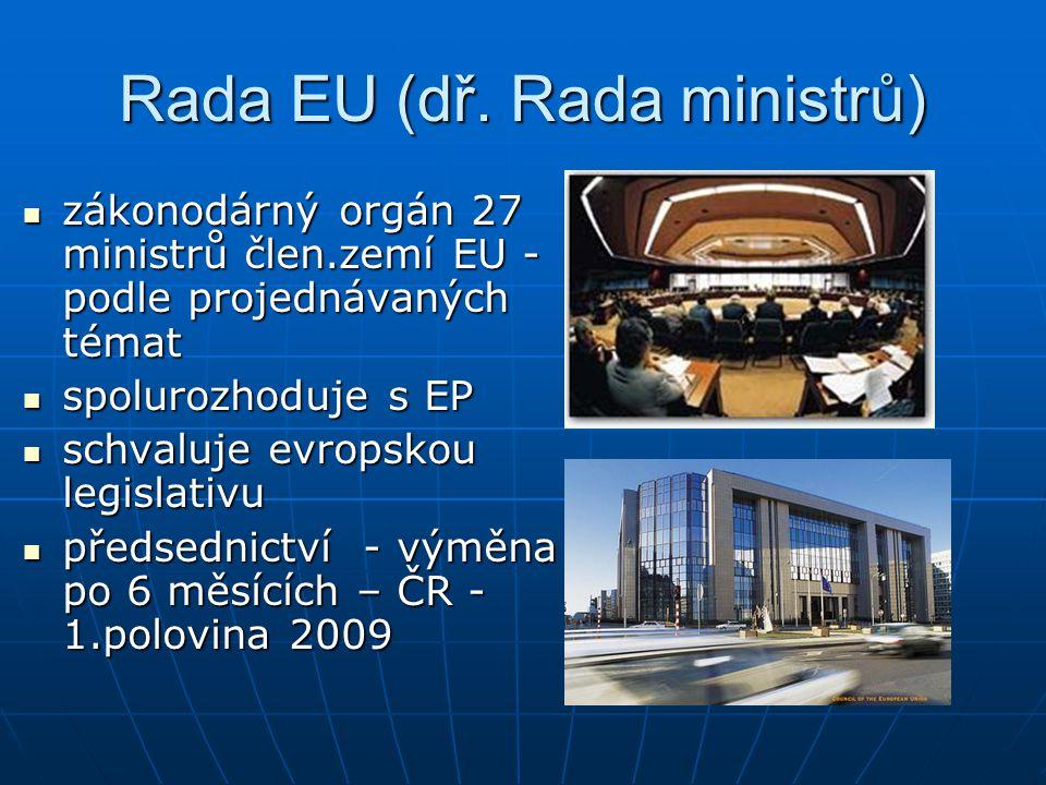Rada EU (dř. Rada ministrů) zákonodárný orgán 27 ministrů člen.zemí EU - podle projednávaných témat zákonodárný orgán 27 ministrů člen.zemí EU - podle