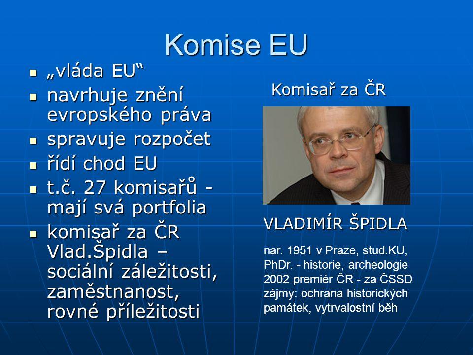 """Komise EU """"vláda EU"""" """"vláda EU"""" navrhuje znění evropského práva navrhuje znění evropského práva spravuje rozpočet spravuje rozpočet řídí chod EU řídí"""