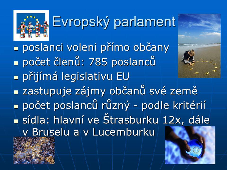 Evropský parlament poslanci voleni přímo občany poslanci voleni přímo občany počet členů: 785 poslanců počet členů: 785 poslanců přijímá legislativu E