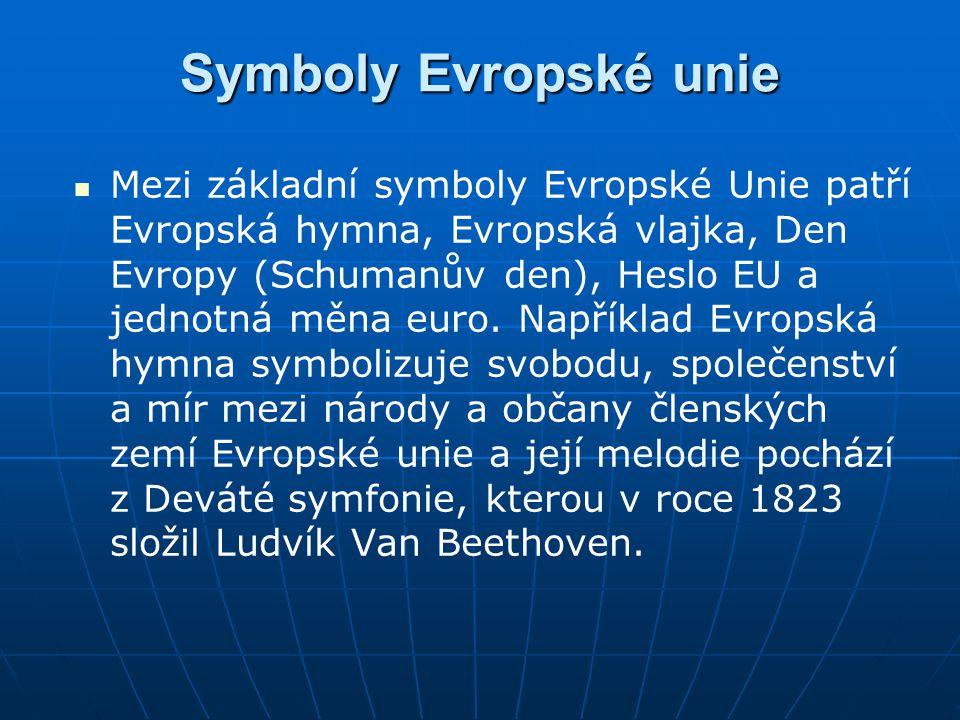 Symboly Evropské unie Mezi základní symboly Evropské Unie patří Evropská hymna, Evropská vlajka, Den Evropy (Schumanův den), Heslo EU a jednotná měna